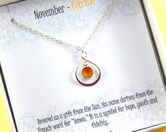 November Birthstone Necklace, Personalized infinity necklace, Citrine, birthstone jewelry, gift boxed necklace