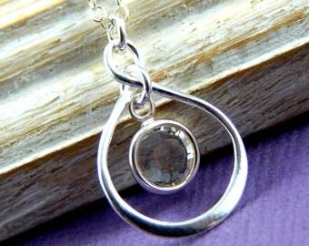 Birthstone Necklace, Personalized infinity necklace, Diamond, April birthstone jewelry, birthday gift