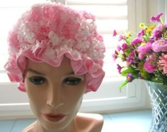Deluxe shower cap hat bonnet pink & white 3D rosettes Australia hand made waterproof