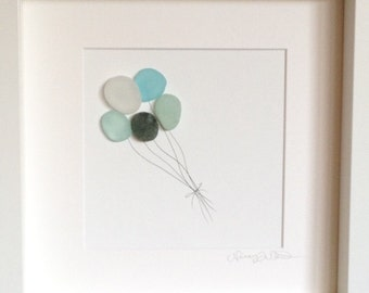 Genuine Irish Sea Glass Balloons Wall Art