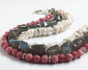 Gray Pink White Bracelet, Pearl Rhodonite and Labradorite, 3 Strand Bracelet, Pearl Bracelet, Pink Rhodonite Bracelet