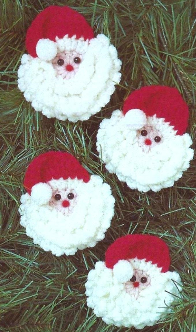 Vintage Crochet Pattern Santa Faces Father Christmas Face