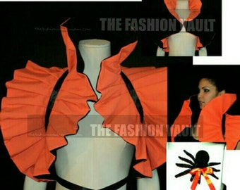 Cosplay dramatic Neck Collar Bolero shrug in Orange Black
