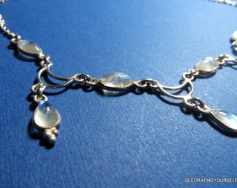 Moonstone Dangle  Silver Necklace 17 Inches Long