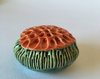 One Emerald Green and Red Ceramic Flower Pod Wall  Art