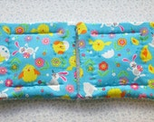blue easter chicks and bunnies easter set of 2 potholders hot pads