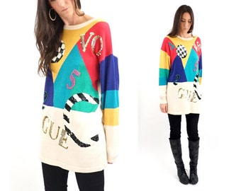 vintage SEQUIN color block NOVELTY oversized sweater S-M