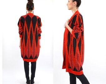 vintage 90s red GEO minimalist DUSTER maxi CARDIGAN sweater S-M