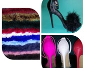 Red Strappy Fur Heels / Pick your color fur/ Open toe fur shoes/ Build Your Own