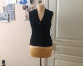 70s Black Vest Knit Wool Sweater Vest Gilet Women