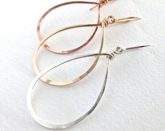 Silver Teardrop Hoops. Hand Hammered Shiny Large Sterling Silver Hoops. Droplet earrings. Boho Droplet Hoop Earrings. Girls Gift Under 50