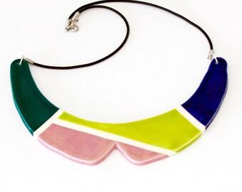 Collar Necklace Ceramic - big necklace, statement necklace, Peter Pan necklace, bib necklace - StudioLeanne