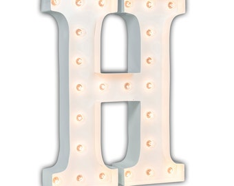 "SALE - Light Up Letter H - WHITE - 24"" Vintage Marquee Lights-The Original!"