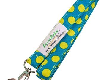 Lanyard Badge Holder Fabric Lanyard Teacher Lanyard ID Badge Holder Key Holder Keychain Neck Lanyard Fabric Lanyards Key Fob Green Dots