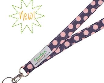 Fabric Lanyard ID Badge Holder    Gray Lanyard   Light Pink Polka Dots   Ready To Ship