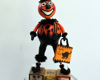 Halloween Pumpkin Man Folk Art Doll Sculpted Collectible Holiday Decoration