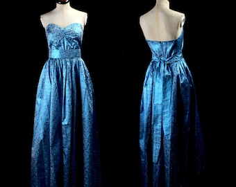 Original Vintage 1980s Electric Blue Ballgown Dress - x Small - FREE SHIPPING WORLDWIDE