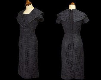 Original Vintage 1950s Black Broderie Anglaise Wiggle Dress - x small - FREE SHIPPING WORLDWIDE