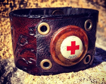 Antique Red Cross Pin on Embossed Leather Cuff