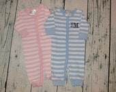 CLEARANCE Personalized Baby Sleeper - Stripe Infant Sleeper Romper - Pink Or Blue  size 0-6 month