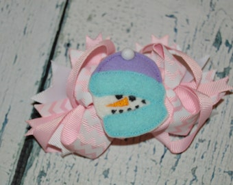 CLEARANCE Snowman Hairbow Embroidered Hair Bow Center Chevron