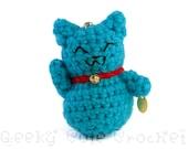 Blue Good Luck Kitty Amigurumi Keychain Maneki Lucky Neko Cat
