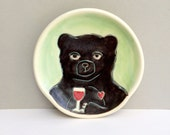 Ceramic Spoon Rest with Black Bear, Green and Black Spoonrest For The Kitchen, Woodland Animals, Animal Pottery, Bear Loves Red Wine