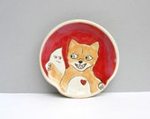 Ceramic Spoon Rest with Fox, Red And Orange, For The Kitchen, Woodland Animals, Animal Pottery, Fox Loves His Tail