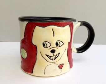 Dog Mug, Small Dog Loves Ball Red Coffee Mug or Small Tea Mug, Ball Dog, Animal Pottery, Dog Pottery