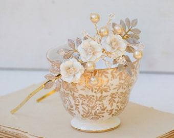 Bridal Headband White Flowers Champagne Pearls Crystals Wedding Romantic Bridal Woodland Garden Hairband - Ready to Ship