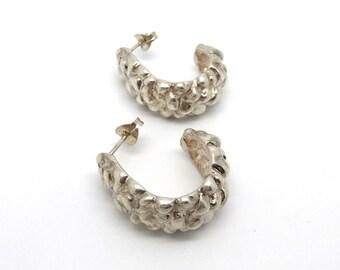 Wide Carved Sterling Silver Hoop Earrings