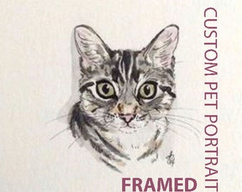 framed, FREE SHIPPING, Custom Pet Portrait, Art Commission, Custom Portrait, OOAK