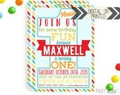 First Birthday Invitation | Digital or Printed | 1st Birthday Invitation | Boy 1st Birthday Invitation |  1st Birthday Invite |