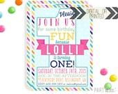 First Birthday Invitation | Digital or Printed | 1st Birthday Invitation | Girl 1st Birthday Invitation |  1st Birthday Invite | Girly 1st