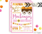 Pumpkin Patch Invitation | Digital or Printed | Pumpkin Party | Pumpkin Invite | Girly Pumpkin | Fall Birthday Invitation | Gold Sparkle