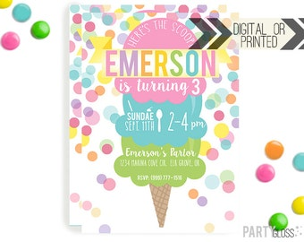 Ice Cream Invitation | Digital or Printed | Ice cream Cone Invitation | Ice Cream Invitation |  Ice Cream Invite | Ice Cream Party | Sundae