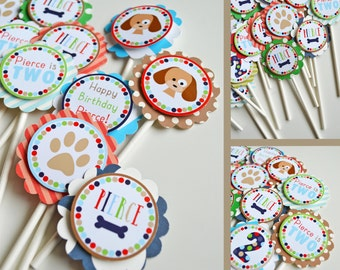 Puppy Birthday Party Cupcake Toppers Fully Assembled Decorations