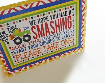 Monster Truck Party Favor Table Take One Sign Fully Assembled Decorations