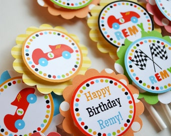 Race Car Birthday Party Cupcake Toppers Decorations Fully Assembled