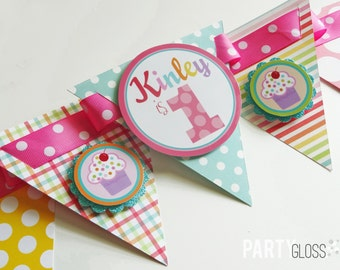 Cupcake Birthday Party High Chair Banner Fully Assembled Decorations | Sweets and Treats | Cupcake Party | Sweet Shop Party |