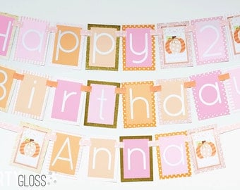 Pink and Gold Pumpkin Birthday Party Banner Decorations Fully Assembled