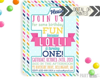 First Birthday Invitation | Digital or Printed | 1st Birthday Invitation | Girl 1st Birthday Invitation |  1st Birthday Invite | Girly 1st