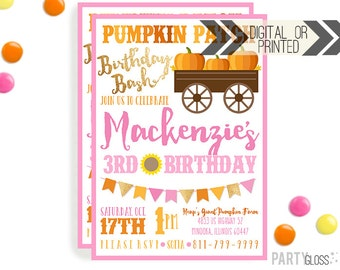 Pumpkin Patch Invitation | Digital or Printed | Pumpkin Party | Pumpkin Invite | Girly Pumpkin | Fall Birthday Invitation | Gold Sparkle