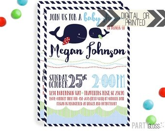 Whale Baby Shower Invitation | Digital or Printed |  Whale Baby Shower | Nautical Invitation |  Nautical Shower | Whale Themed Baby Shower