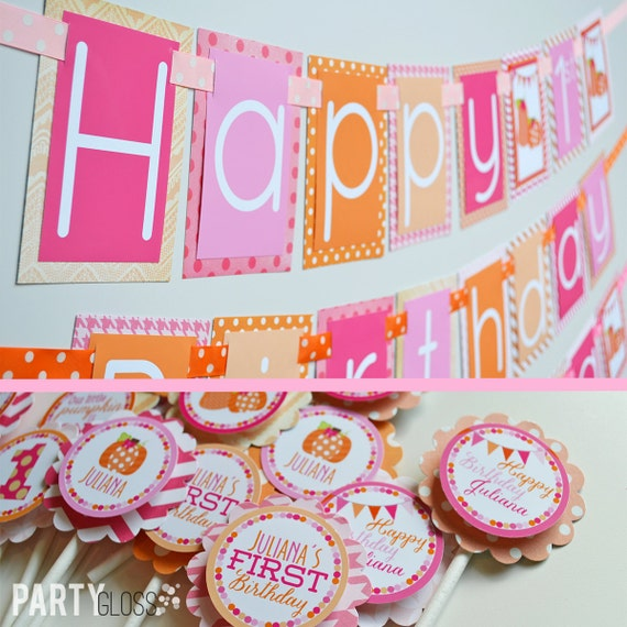 Pink And Orange Pumpkin Birthday Party Decorations Package