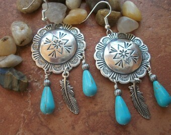 Turquoise, Feather, Silver Plated Concho Earrings - Southwestern Sytle