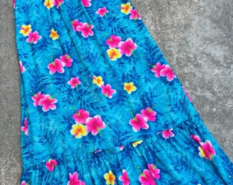 1960s Vintage Hawaiian Aloha Dress - Vintage Hawaii Maxi Dress Muumuu - Ocean Blue Hot Pink Hibiscus - 1960s 1970s Vintage Hawaii - 38 Bust