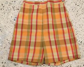 1960s Shorts - High Waisted Shorts High Waist - Pinup - Bombshell - Summer Plaid - Crisp Shorts - Classic Traditional 24 Waist