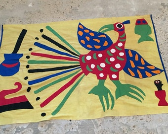 Tribal Theme Wall Hanging or Table Linen Runner - Hand Applique - Bird Guitar - Bohemian Hippie Decor - Collected - Aztec Ethnic Native Bird