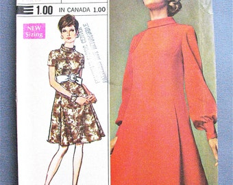 Uncut Simplicity 8031 One-Piece Dress Vintage Sewing Pattern Bishop Sleeve Panel Pleated Balloon Sleeves Roll Collar Cocktail Dress  Bust 36